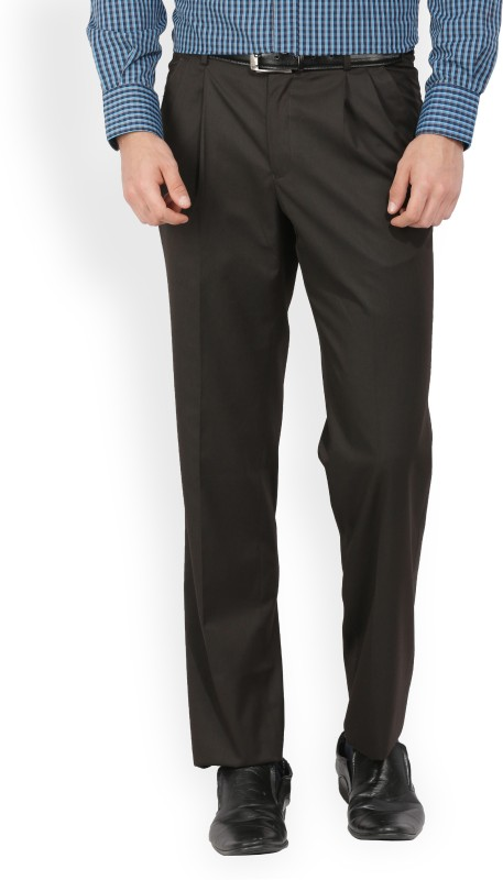 Van Heusen Regular Fit Mens Brown Trousers