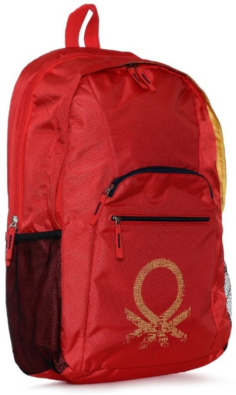 United Colors of Benetton Mosaic Logo Print 19 L Backpack(Red)