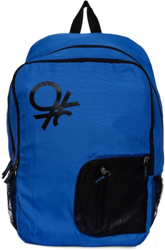 United Colors of Benetton Contrast Pocket 21 L Backpack(Blue, Black)