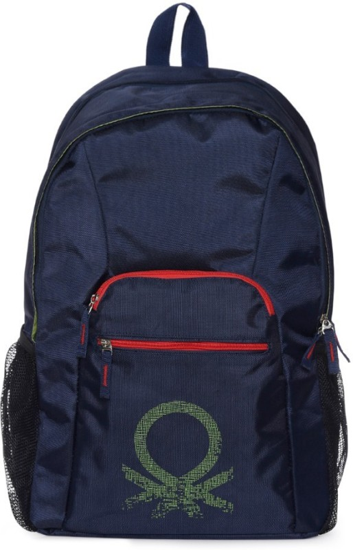 United Colors of Benetton Mosaic Logo Print 19 L Backpack(Blue)