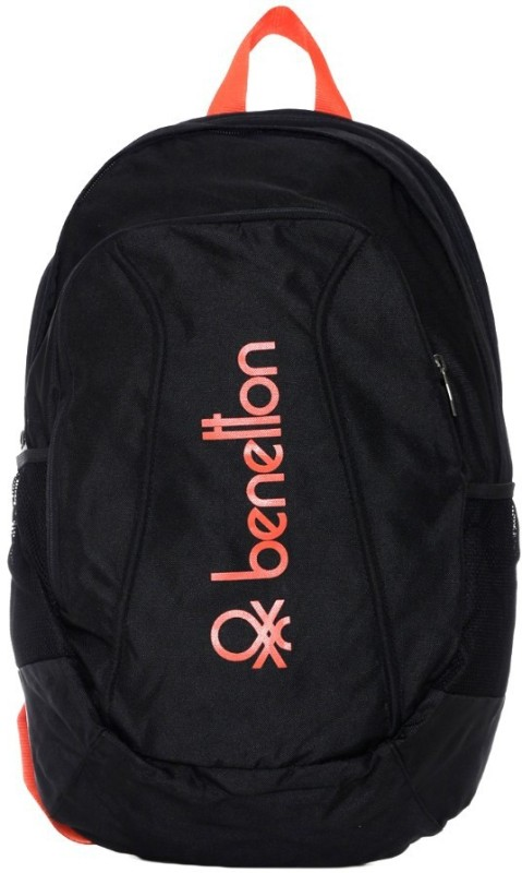 United Colors of Benetton Shaped Bag With Contrast Side Pockets 24 L Backpack(Black)