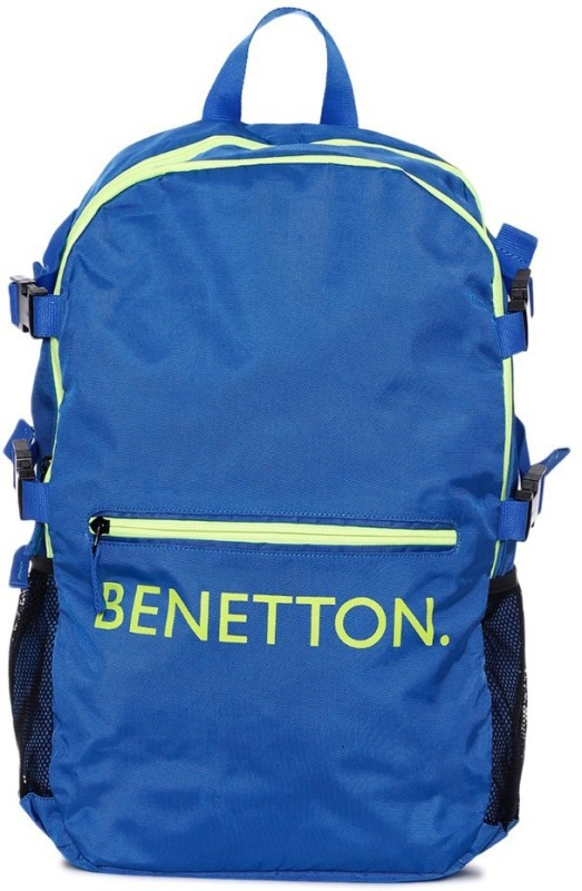 United Colors of Benetton Front Pocket Print 20 L Backpack(Blue)