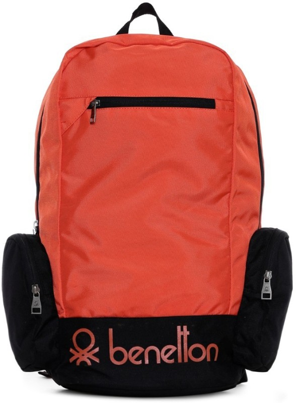 United Colors of Benetton Contrast Side Pocket 22 L Backpack(Orange)