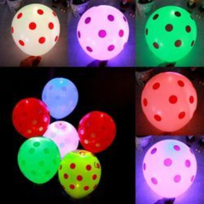 Smartcraft Printed Led Polka Dot Balloons - Pack of 25 , LED Party Supplies , Party Decorations,for Party Festival Diwali Christmas New Years Celebrations Gifts - Assorted Colours Balloon(Multicolor, Pack of 25)