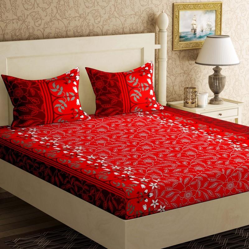 Bella Casa 104 TC Cotton Double Floral Bedsheet(1Bed-sheet,2 Pillow covers, Blue, Grey)