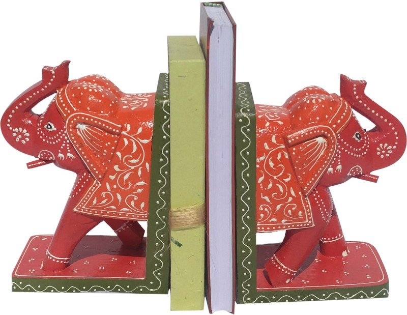The Ethnic Story Wood Book End(Red, Orange)