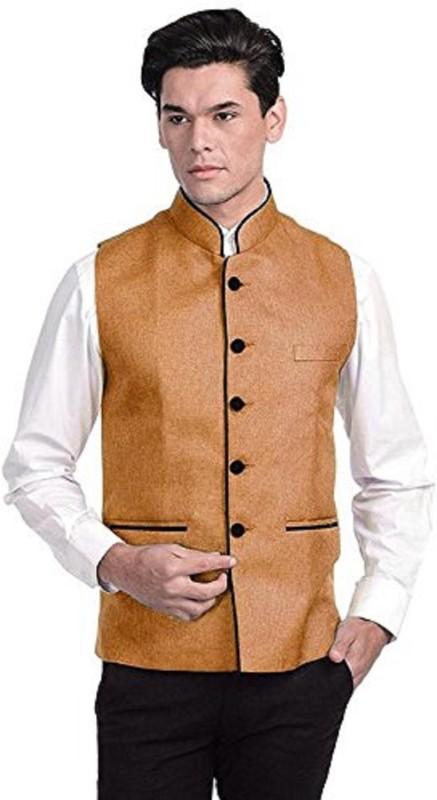 Vastraa Fusion Sleeveless Solid Men Jacket