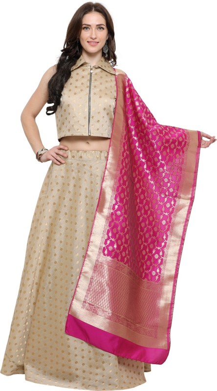 Inddus Printed Semi Stitched Lehenga, Choli and Dupatta Set(Beige, Pink)