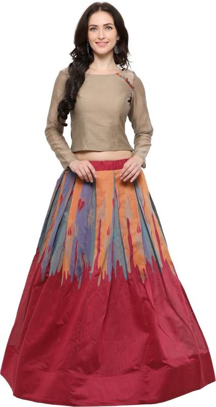 Inddus Printed Semi Stitched Lehenga Choli(Beige, Maroon)