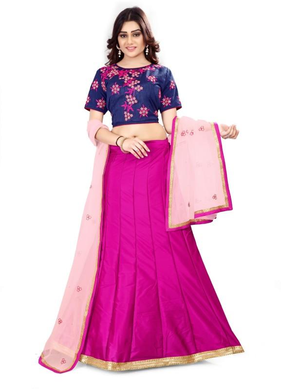 Fabcartz Self Design Lehenga, Choli and Dupatta Set(Blue, Pink)