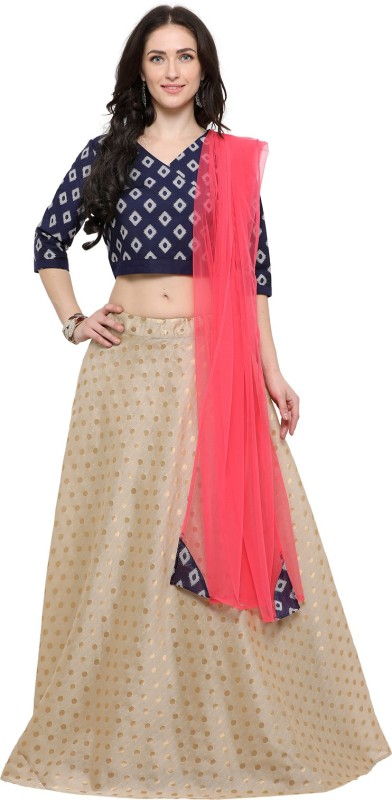 Inddus Printed Semi Stitched Lehenga, Choli and Dupatta Set(Beige, Blue, Pink)