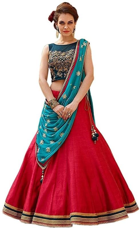 Fashion2wear Embroidered Semi Stitched Lehenga Choli(Multicolor)