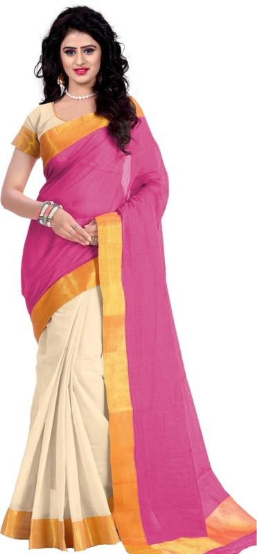 Trendz Style Printed Fashion Cotton Linen Blend, Tussar Silk Saree(Pink, Gold)