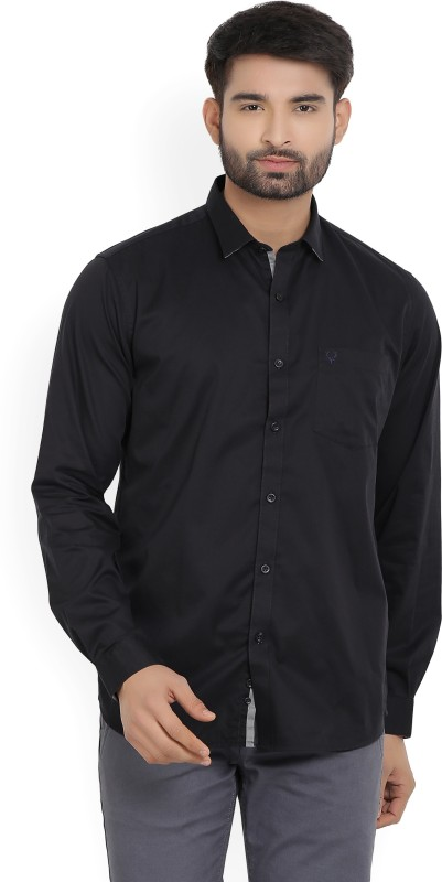 Allen Solly Mens Solid Casual Black Shirt