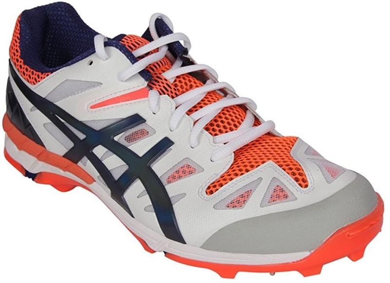Asics P501Y Cricket Shoes For Men(White, Orange)