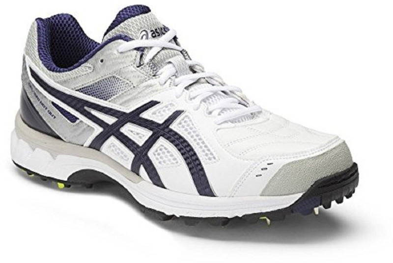 Asics GEL - 220 NOT OUT - WHITE/INDIGO BLUE/SIL Cricket Shoes For Men(White)