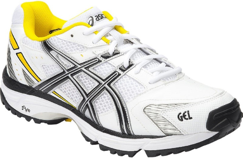 Asics GEL - HARDWICKET 5 - WHT/BLK/YELLOW Cricket Shoes For Men(White)