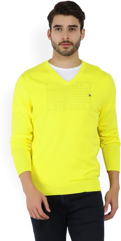 Tommy Hilfiger Solid V-neck Casual Mens Yellow Sweater