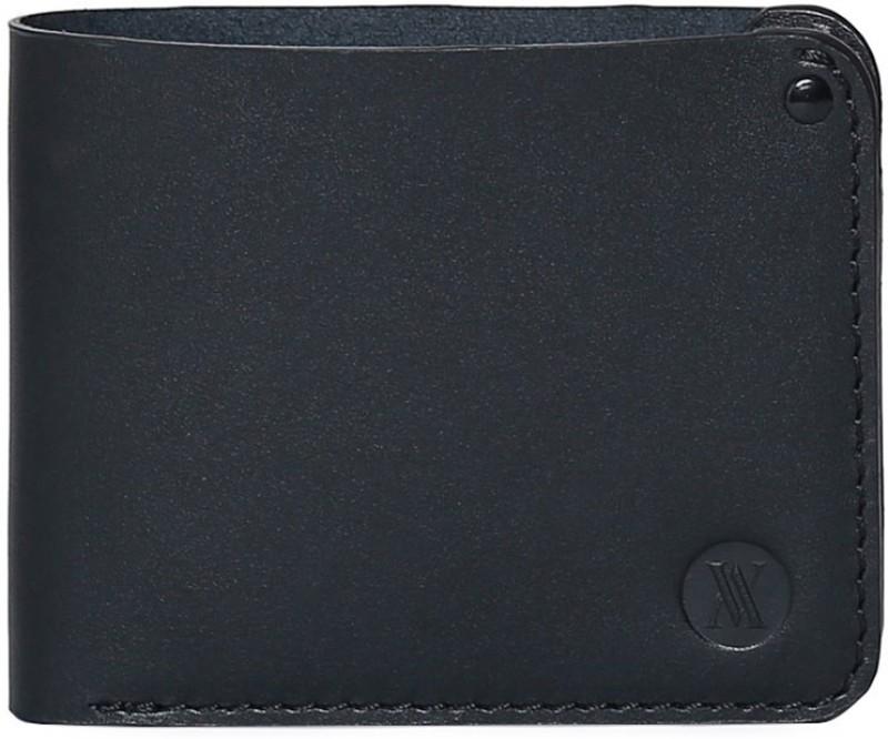 Viari Men Black Genuine Leather Wallet(3 Card Slots)