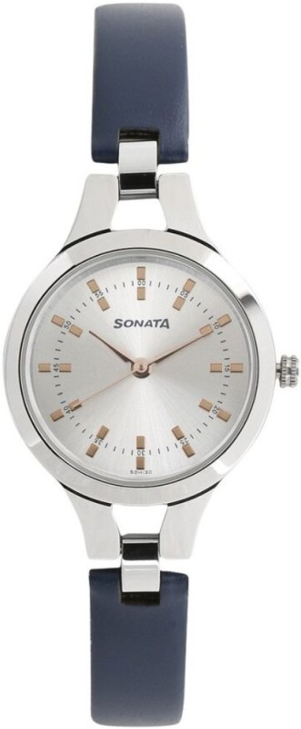Sonata 8151SL01 Steel Daisies Analog Watch - For Women