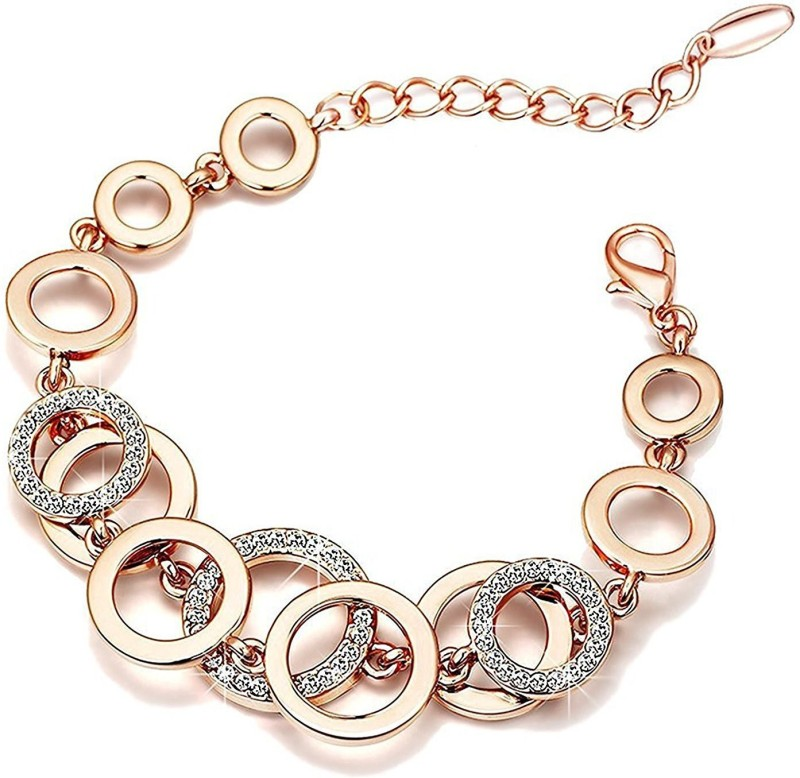Shining Diva Crystal Cubic Zirconia Gold-plated Charm Bracelet