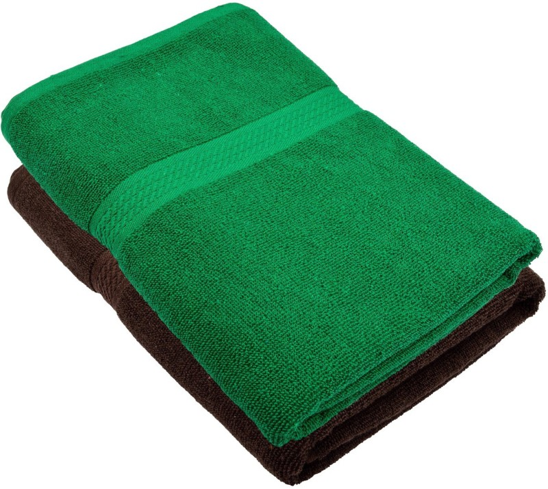 Akshaan Texo Fab Cotton 450 GSM Bath Towel(Pack of 2, Multicolor, Green)