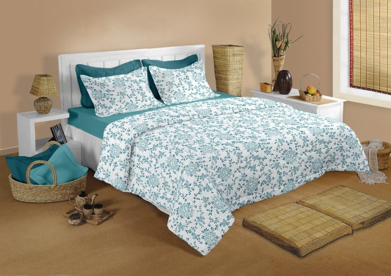 Raymond Home Cotton Double Abstract Bedsheet(1 Bedsheet & 2 Pillow Covers, Green)