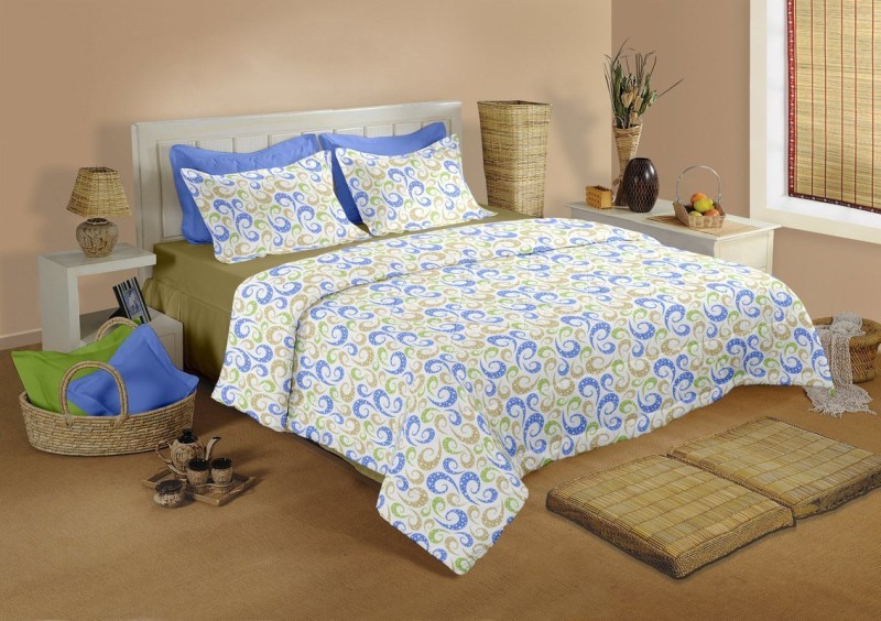 Raymond Home 10 TC Cotton Double Abstract Bedsheet(1 Bedsheet & 2 Pillow Covers, Blue)