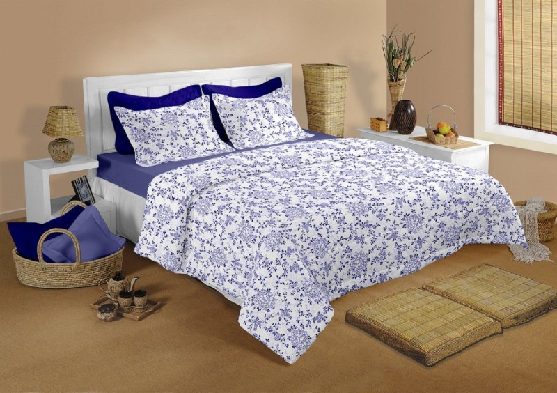 Raymond Home 104 TC Cotton Double Abstract Bedsheet(1 Bedsheet & 2 Pillow Covers, Blue)