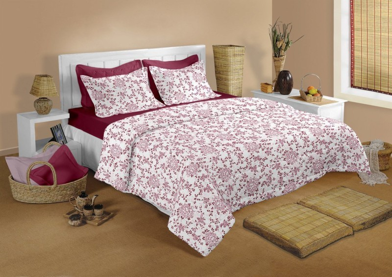 Raymond Home 104 TC Cotton Double Abstract Bedsheet(1 Bedsheet & 2 Pillow Covers, Red)