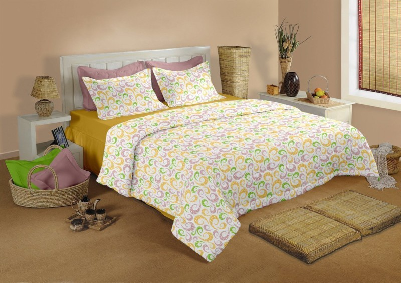 Raymond Home 104 TC Cotton Double Floral Bedsheet(1 Bedsheet & 2 Pillow Covers, Yellow)