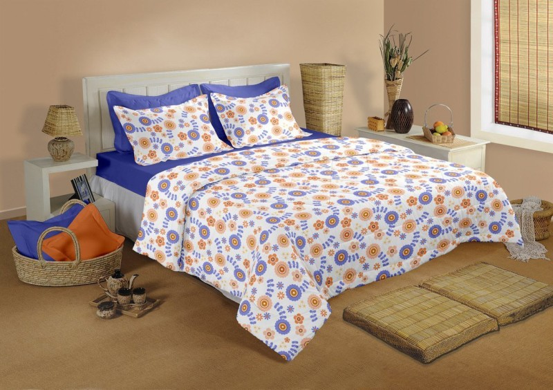 Raymond Home 104 TC Cotton Double Floral Bedsheet(1 Bedsheet & 2 Pillow Covers, Multicolor)