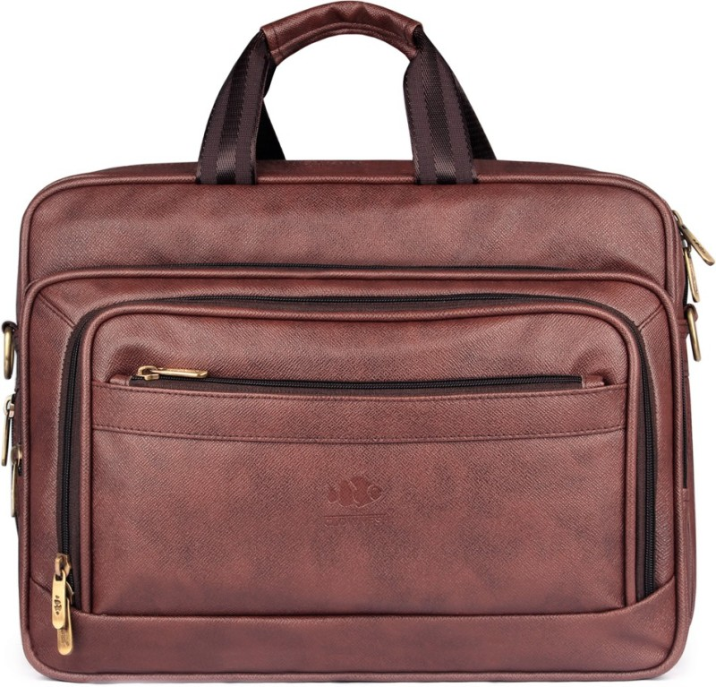 The Clownfish Executive Laptop Briefcase Medium Briefcase - For Men & Women(Brown)