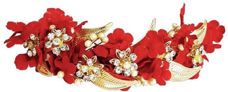 INAAYA Wedding Hair Accessories Flowers For Bun Making Hair Gajra, Red GF0001R Hair Accessory Set(Red)