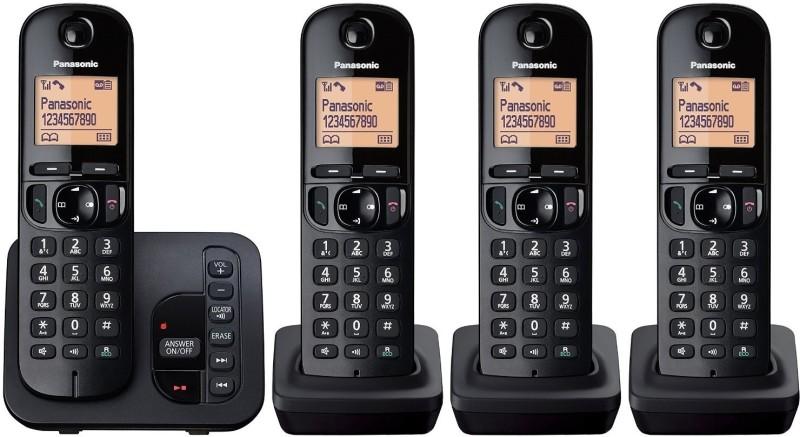 Panasonic KX-TGC425 Cordless Landline Phone with Answering Machine(Black)