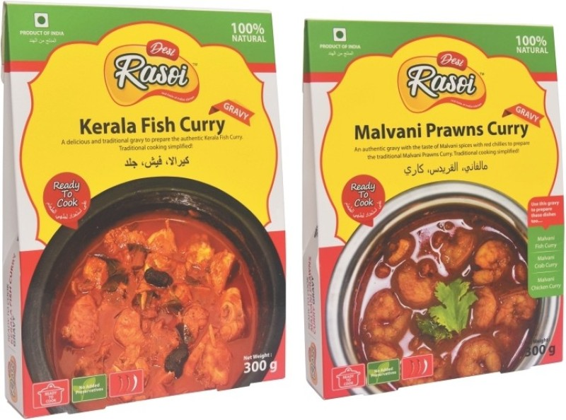 Desi Rasoi Combo- Kerala Fish Curry + Malvani Prawns Curry (Pack of 2) 600 g