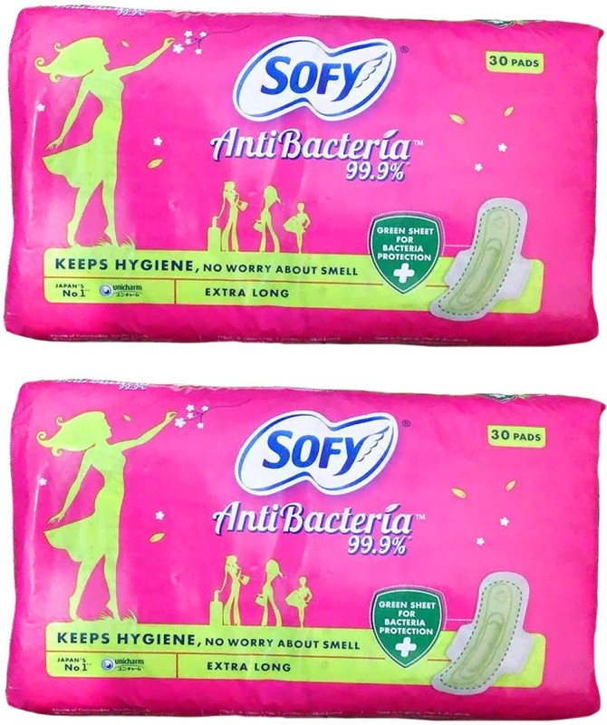 SOFY ANTI BACTERIA EXTRA LONG, 30 PADS PACK, ( SET OF 2 PACKS), TOTAL 60 PADS Sanitary Pad(Pack of 60)