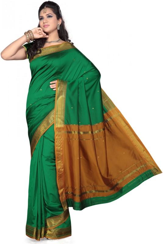 kewlagar Plain Paithani Poly Silk Saree(Dark Green)