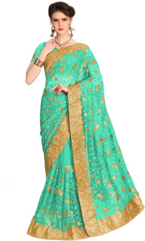 Pragati Fashion Hub Embroidered Fashion Net Saree(Blue)