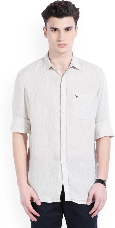 Allen Solly Mens Self Design Casual Linen Beige Shirt