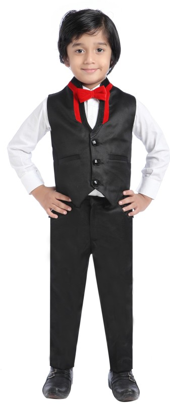 Jeet Shirt, Waistcoat and Pant Set Self Design Boys Suit