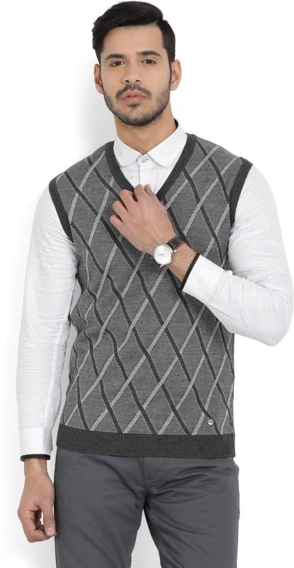 Arrow New York Argyle V-neck Casual Men's Grey Sweater