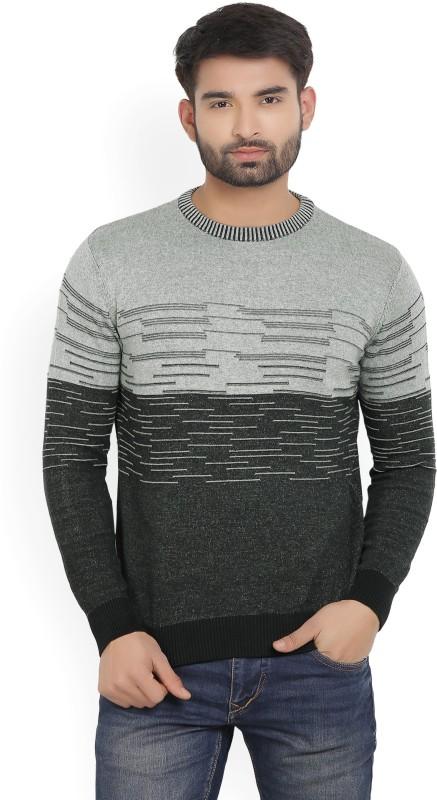 Wrangler Self Design Round Neck Casual Mens Black, Grey Sweater