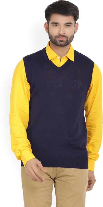 Louis Philippe Solid V-neck Casual Mens Dark Blue Sweater