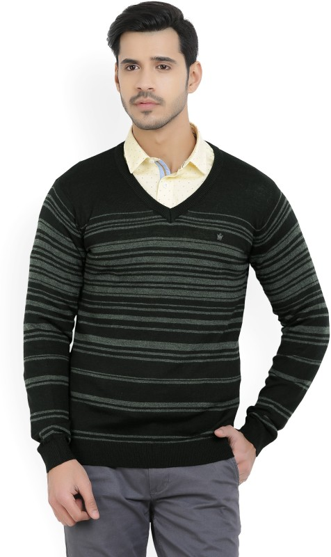 Louis Philippe Striped V-neck Casual Mens Black, Grey Sweater