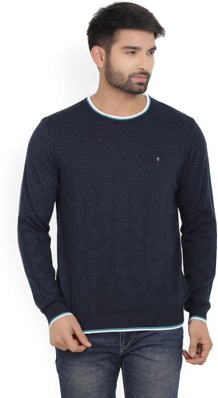 Louis Philippe Printed Round Neck Casual Mens Dark Blue Sweater