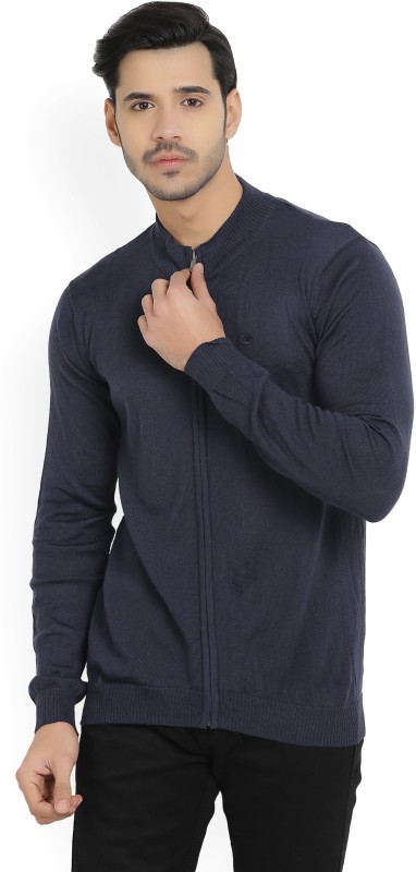 Louis Philippe Solid Turtle Neck Casual Mens Dark Blue Sweater