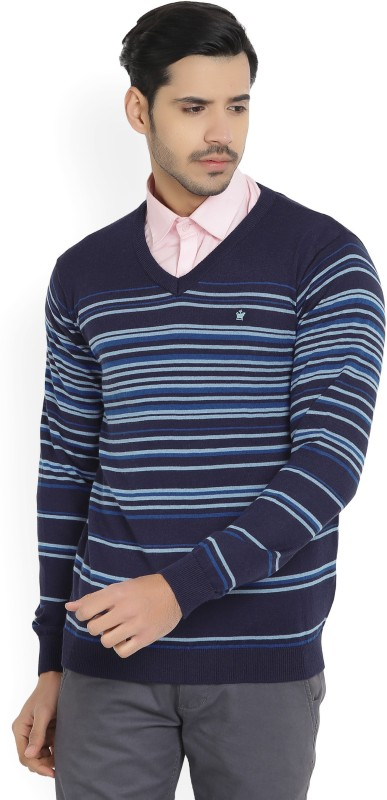 Louis Philippe Striped V-neck Casual Mens Blue Sweater