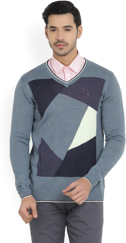 Louis Philippe Self Design V-neck Casual Mens Blue Sweater
