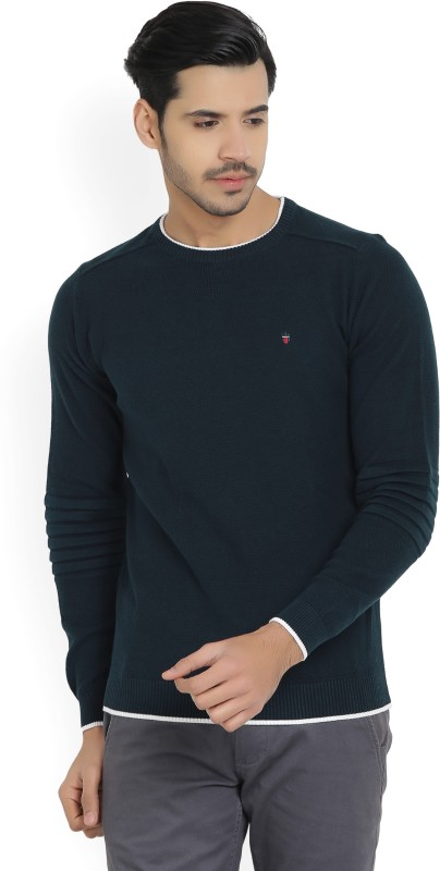 Louis Philippe Self Design Round Neck Casual Mens Dark Blue Sweater